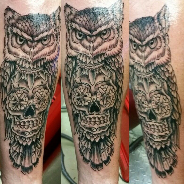 Sugar Skull and owl tattoo by Jeffrey Ziozios at Bay City Tattoos in ...