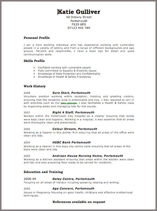 Cv Template Examples Uk 2 Cv Template Pinterest Sample Resume