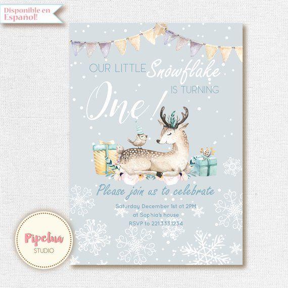 Winter Birthday Invitation, Snowflake Birthday Invitation, First