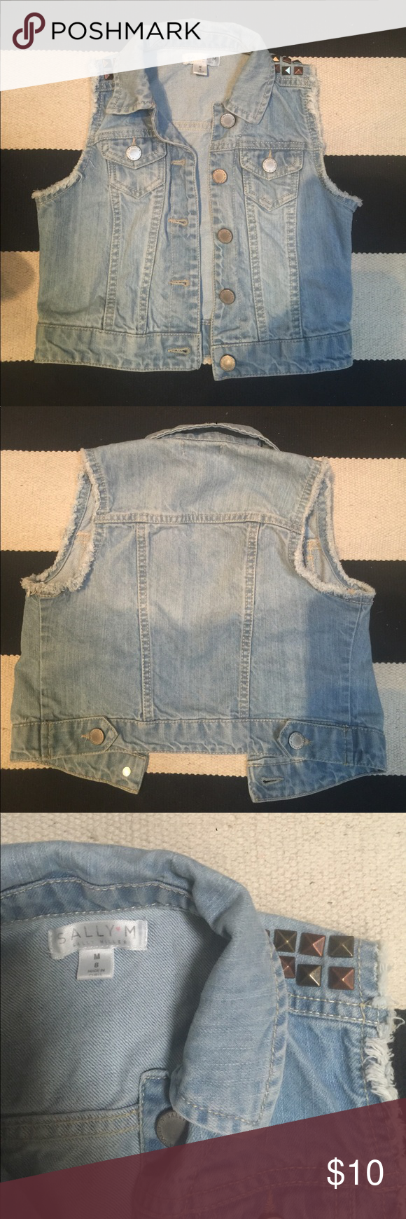 Sally Miller Sleeveless Jean Jacket Barely worn, size M/8, front pockets, stoned shoulder detail Sally Miller Jackets & Coats Jean Jackets #sallymiller Sally Miller Sleeveless Jean Jacket Barely worn, size M/8, front pockets, stoned shoulder detail Sally Miller Jackets & Coats Jean Jackets #sallymiller