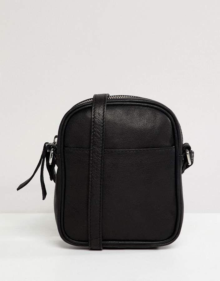 DESIGN Leather Mini Messenger Cross Body - Black Asos XaopG41fNF