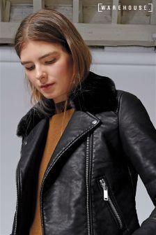 e709333c4 Warehouse Black Fur Collar Faux Leather Jacket | sewspiration ...