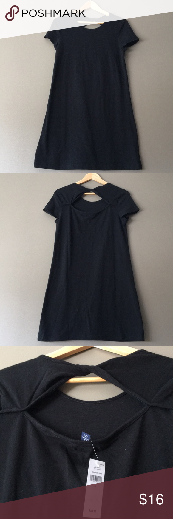 Twist back keyhole black dress nwt in my posh picks