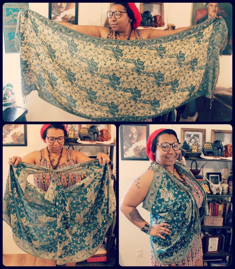 5a409417009 Quirky Bohemian Mama - A Bohemian Mom Blog  Easy DIY no-sew pashmina scarf  vest  plus sized boho fashion