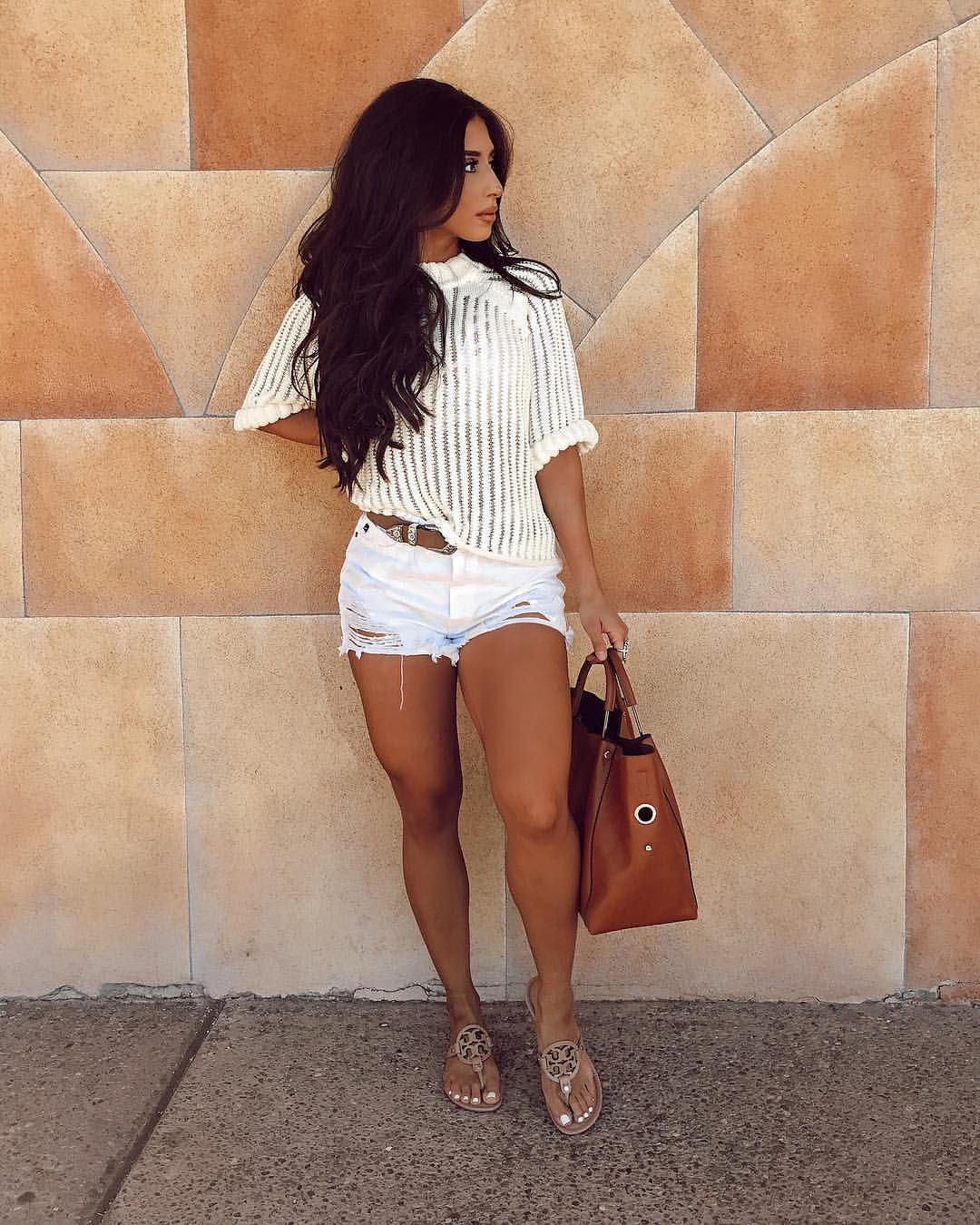 887da13d134b1 (@yvetteg23) on Instagram: cream white knit sweater white distressed high  waisted shorts outfit sandals. Fall outfit style outfit summer spring  casual style ...