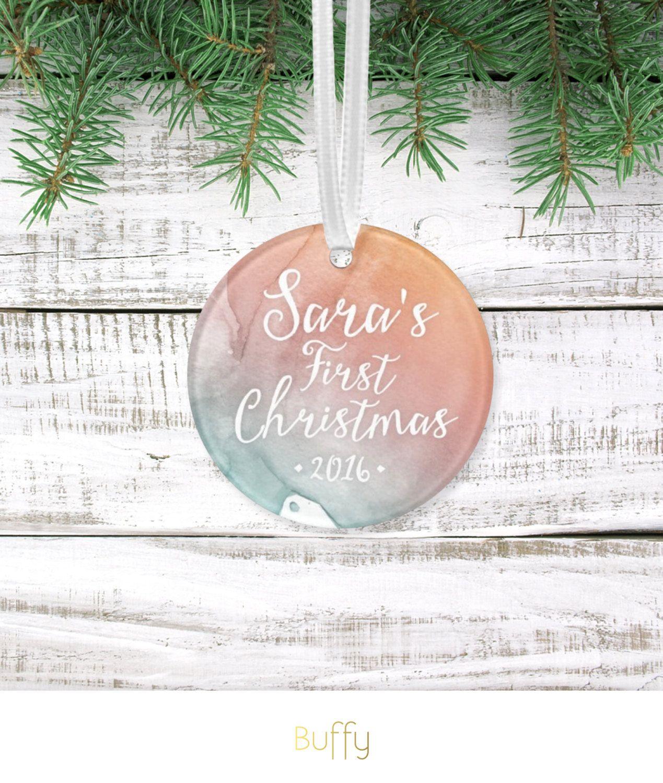 Custom first christmas ornament - Holiday Custom Ornament Babys First Christmas Keepsake Gift Calligraphy