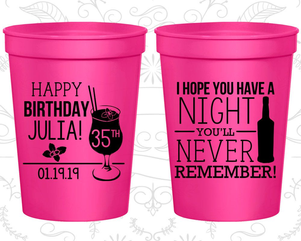 Th birthday party cups custom plastic birthday cups i hope you