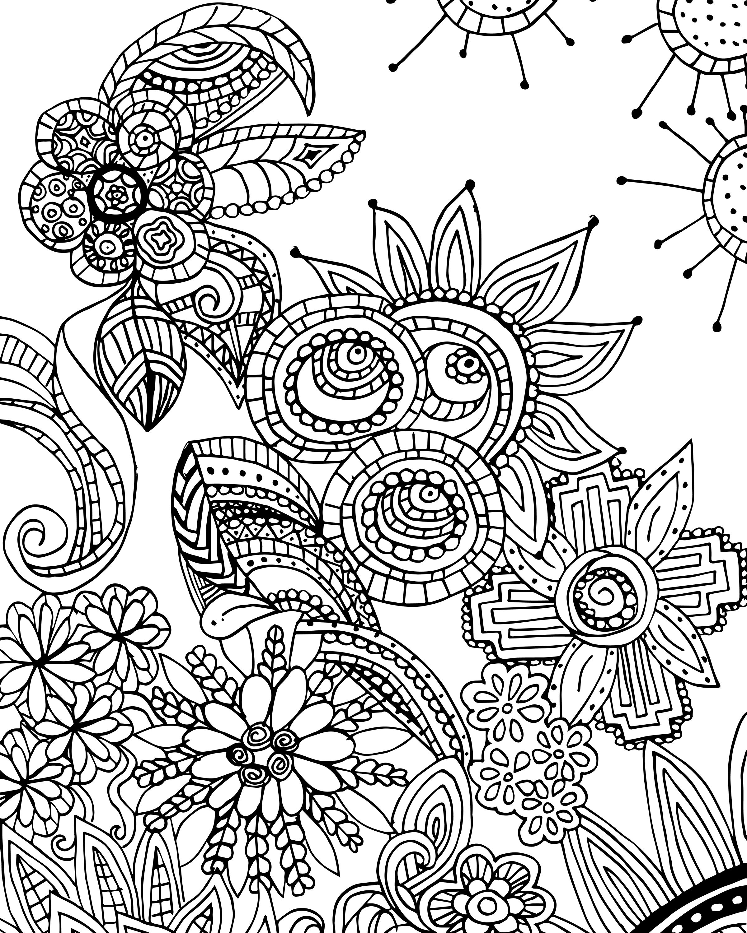 Free Coloring Page For Adults Flower Zen Doodle Designs