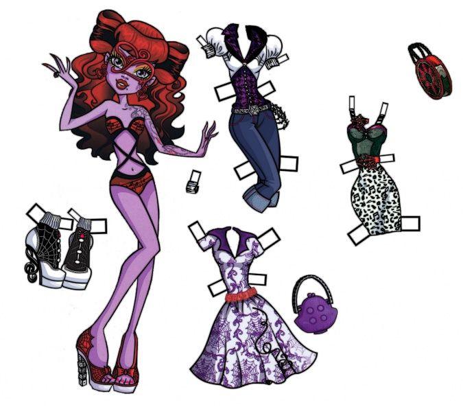 Монстр Хай: Две бумажные куклы Оперетты с одеждой ...