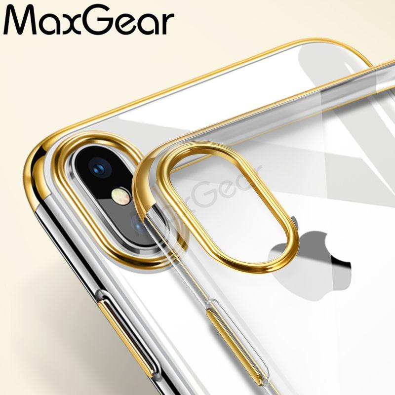Maxgear高級メッキケースiphone用 Capinhas超薄型電気めっきソフト