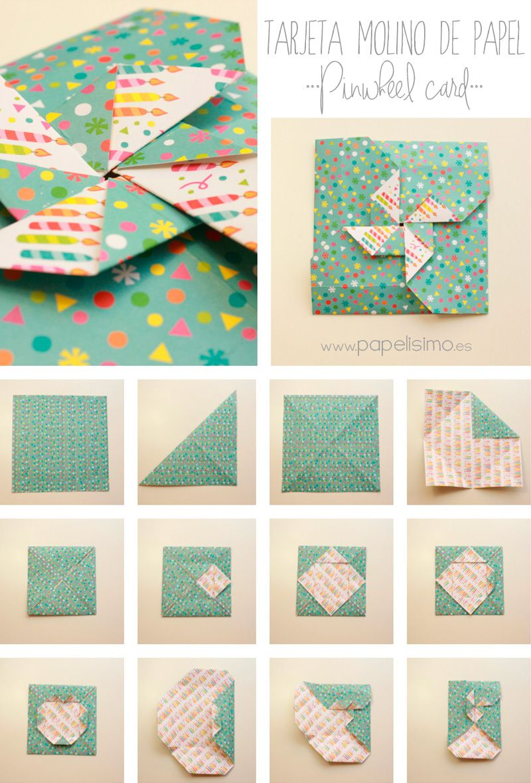 cmo hacer tarjeta con forma de molinillo de papel aprender es