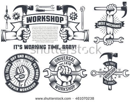 Set Isolated Vintage Logos Repair Workshop Stock Illustration Vintage Logo Handyman Logo Stock Illustration