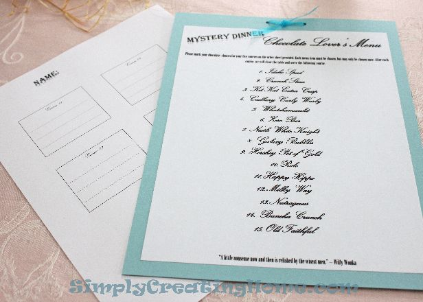 Mystery Dinner Menu  Simply Creating Home  Party