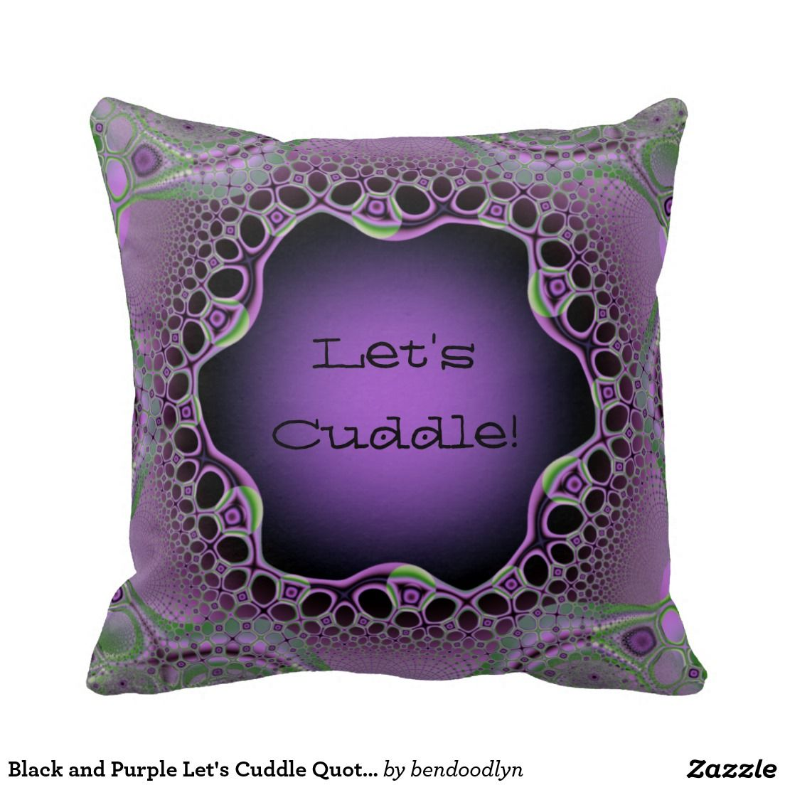 Black and Purple Let's Cuddle Quote Throw Pillows