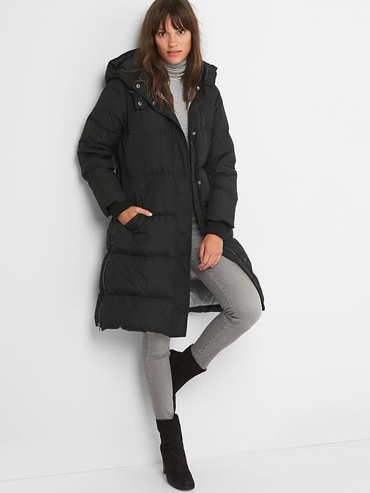 01c829541 Gap Womens Long Down Puffer Jacket Black | Products | Winter coat ...