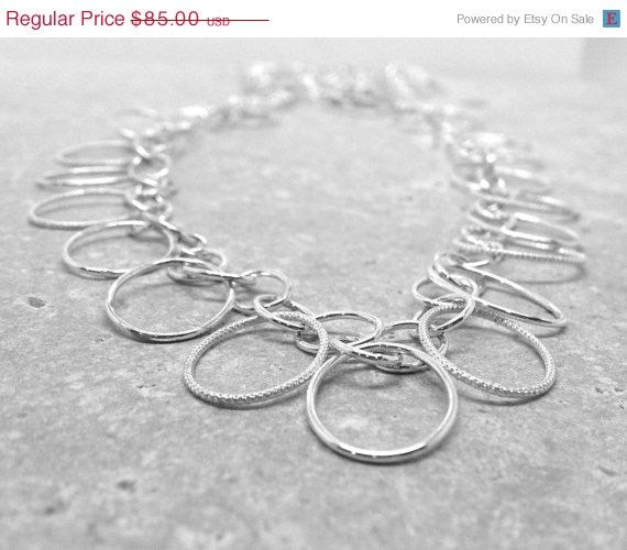 On Sale Statement Necklace Long Sterling by GirlBurkeStudios, $76.50
