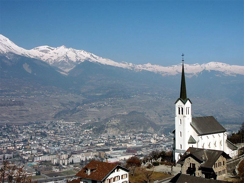 Picture of the city Sion capital of the Swiss canton of Valais