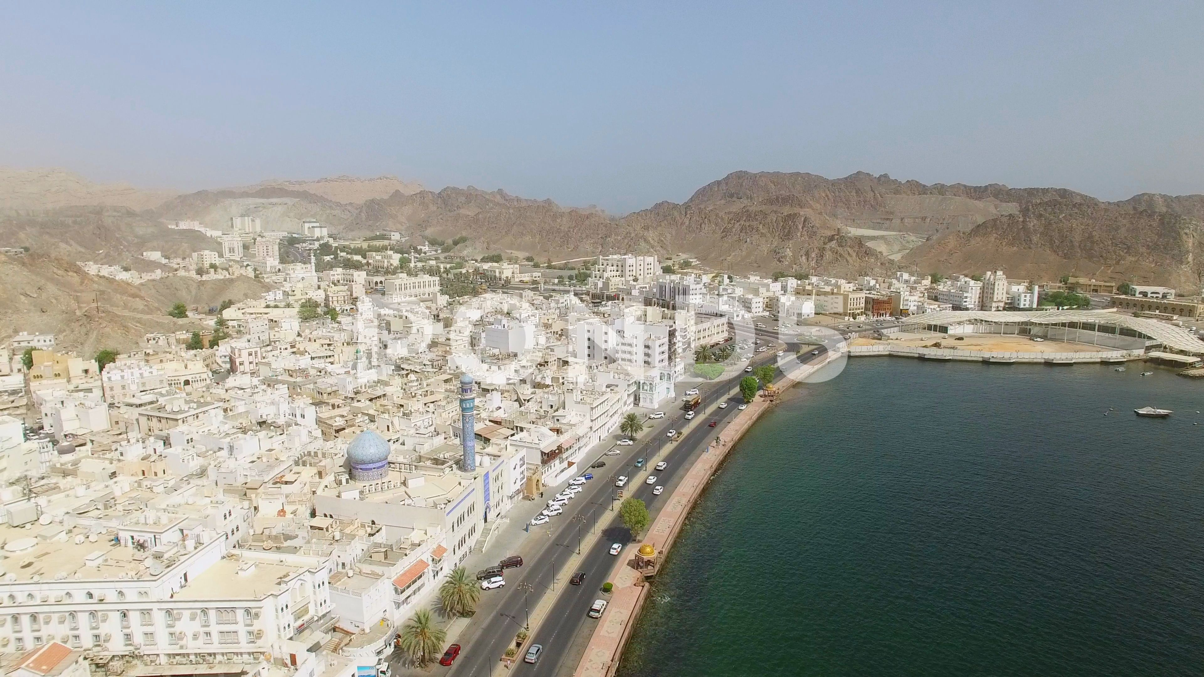 Aerial View Of Cityscape Of Muscat Harbor And Capital City Of Oman Stock Footage Muscat Harbor Cityscape Aerial Aerial View Capital City Cityscape