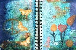 Flower Power - Art Journal Page, gestaltet von Daniela Rogall