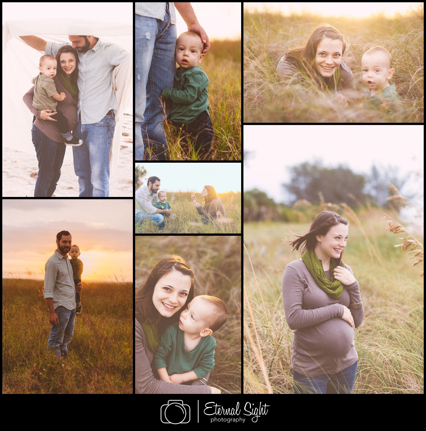 Family/Maternity sunrise photo session. Film look. Taken at Fort Desoto beach in Tampa Bay
