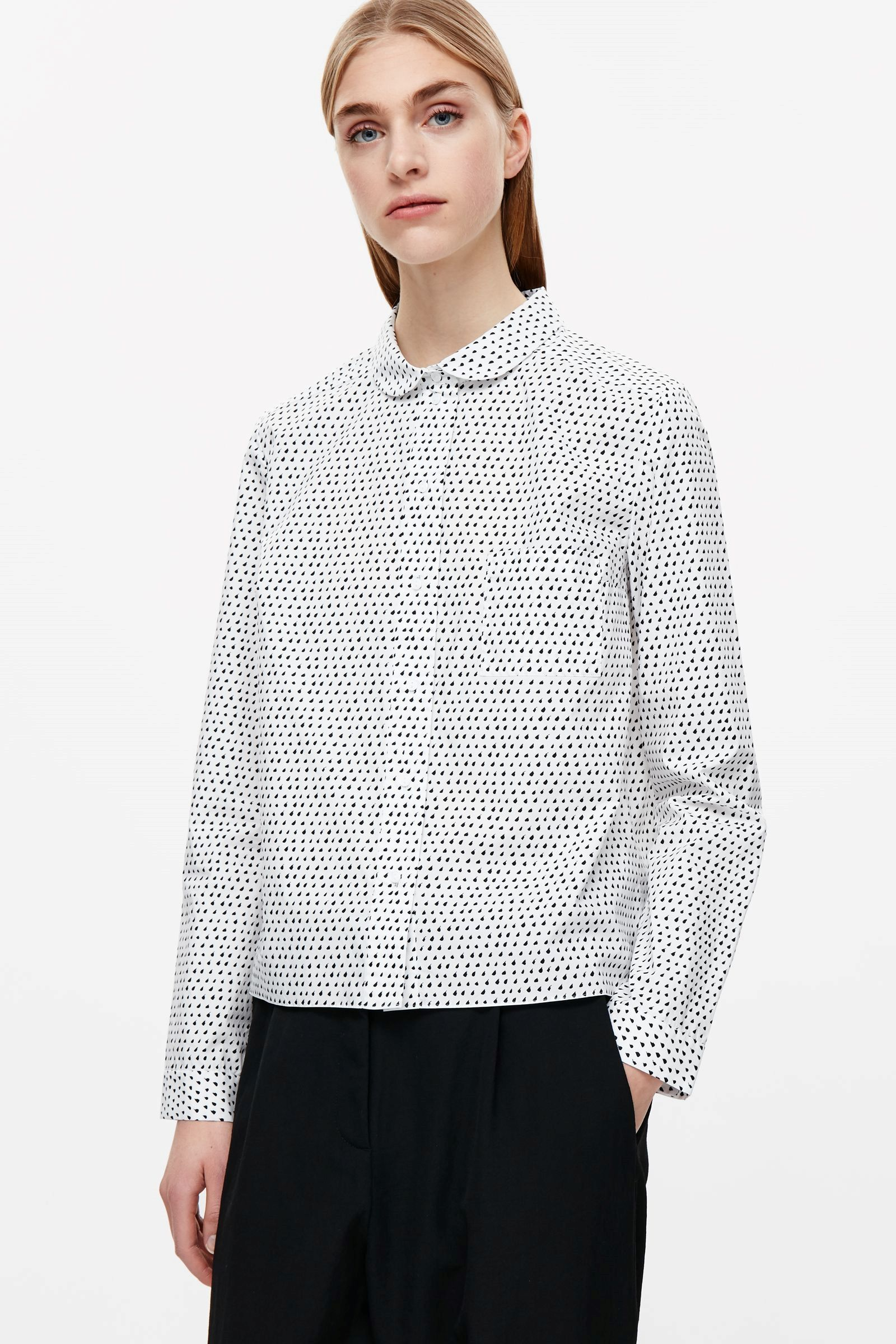 Cos image 18 of roundcollar shirt in white with images