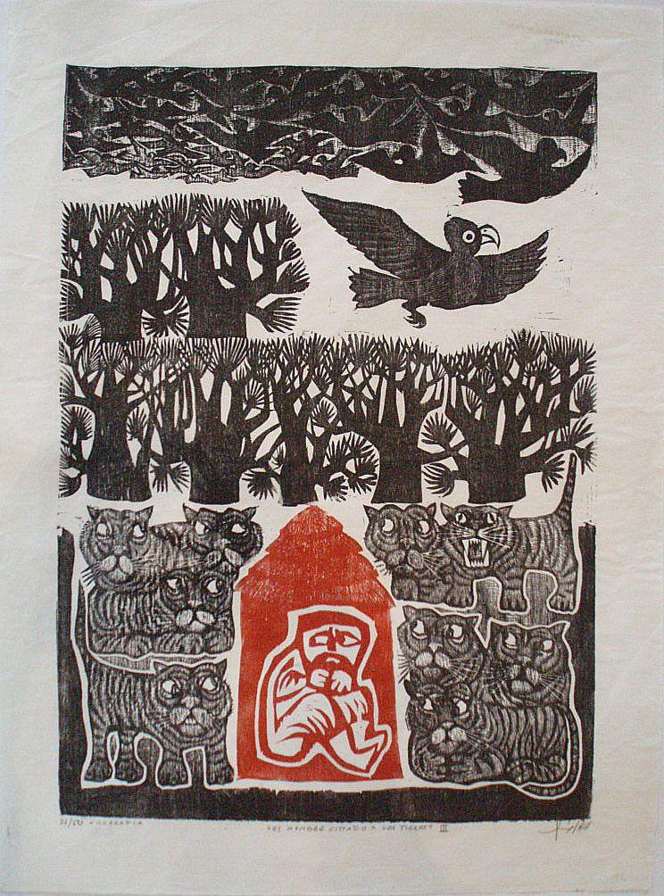 El hombre sitiado por los tigres, 1967. Xilografía de Leonilda González.