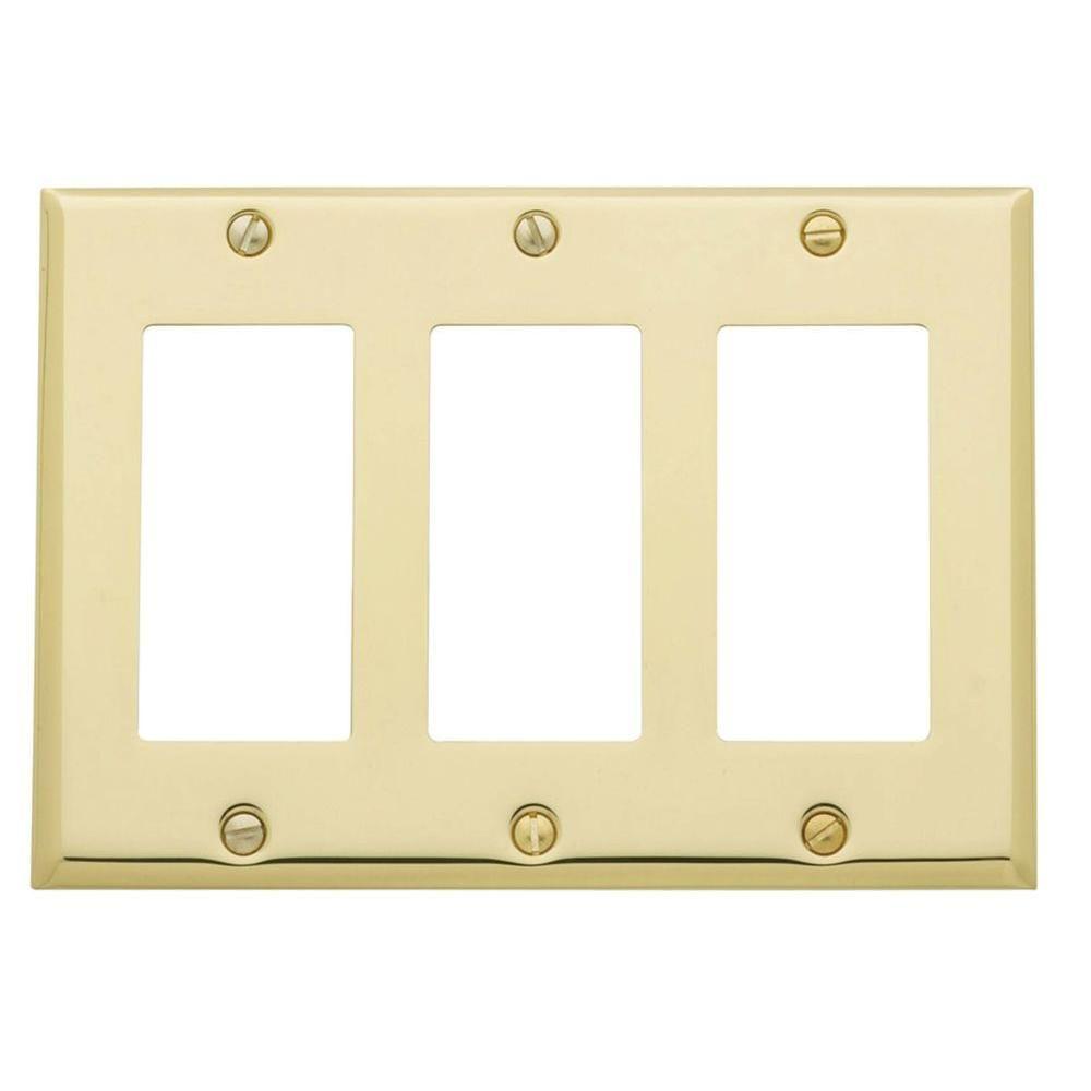 Beveled Edge 3 Gfci Wall Plate - Polished Brass   Polished brass and ...