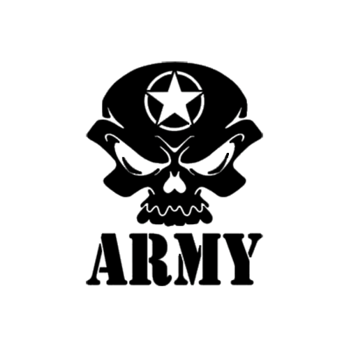 Army skull die cut vinyl decal pv1036