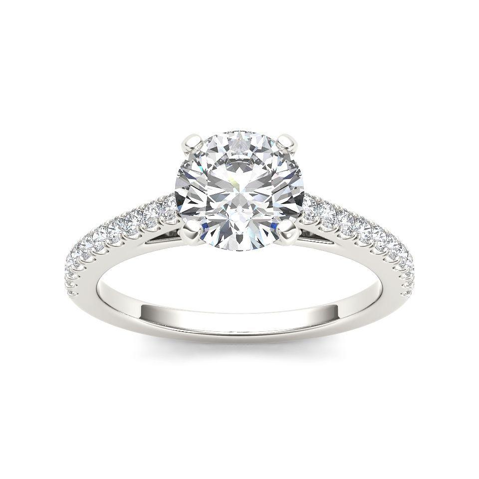 De couer k white gold ct tdw diamond classic engagement ring