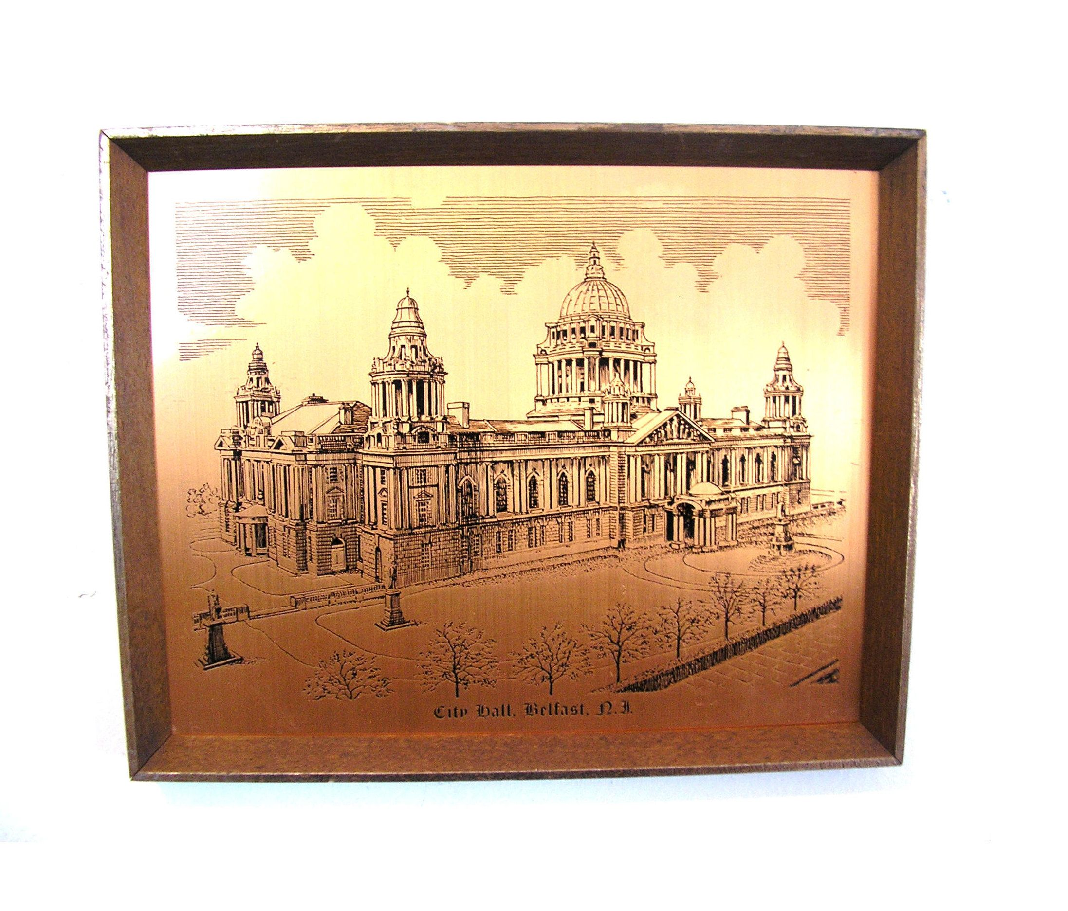 Vintage Irish copper etching engraving City Hall Belfast picture ...