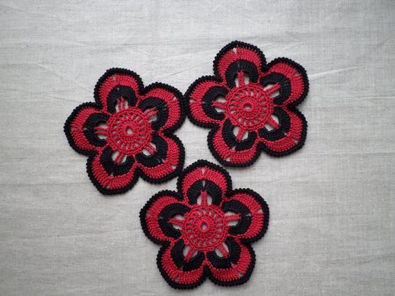 Crochet flower motifs, red black applique, Irish crochet flower applique, irish lace crochet decor, party decor, clothes embellishment #irishcrochetflowers