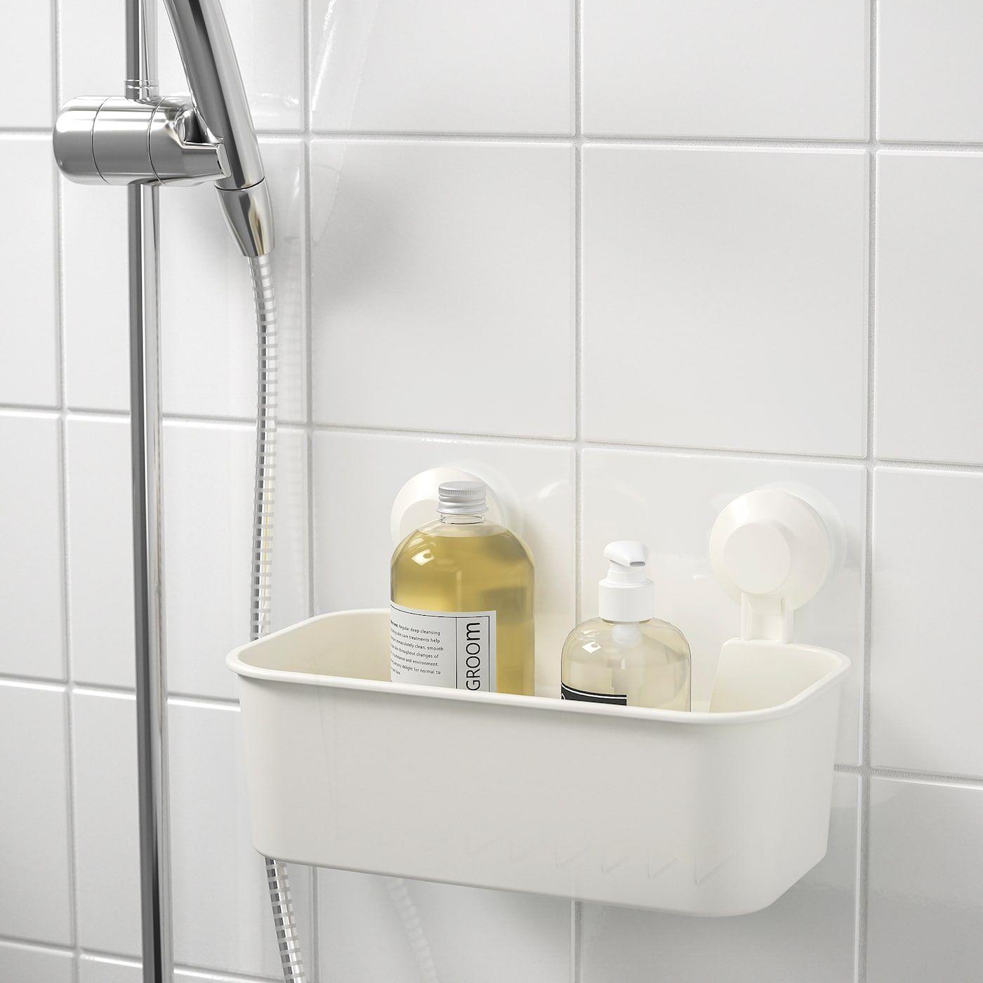Tisken Basket With Suction Cup White In 2020 Bathroom Storage