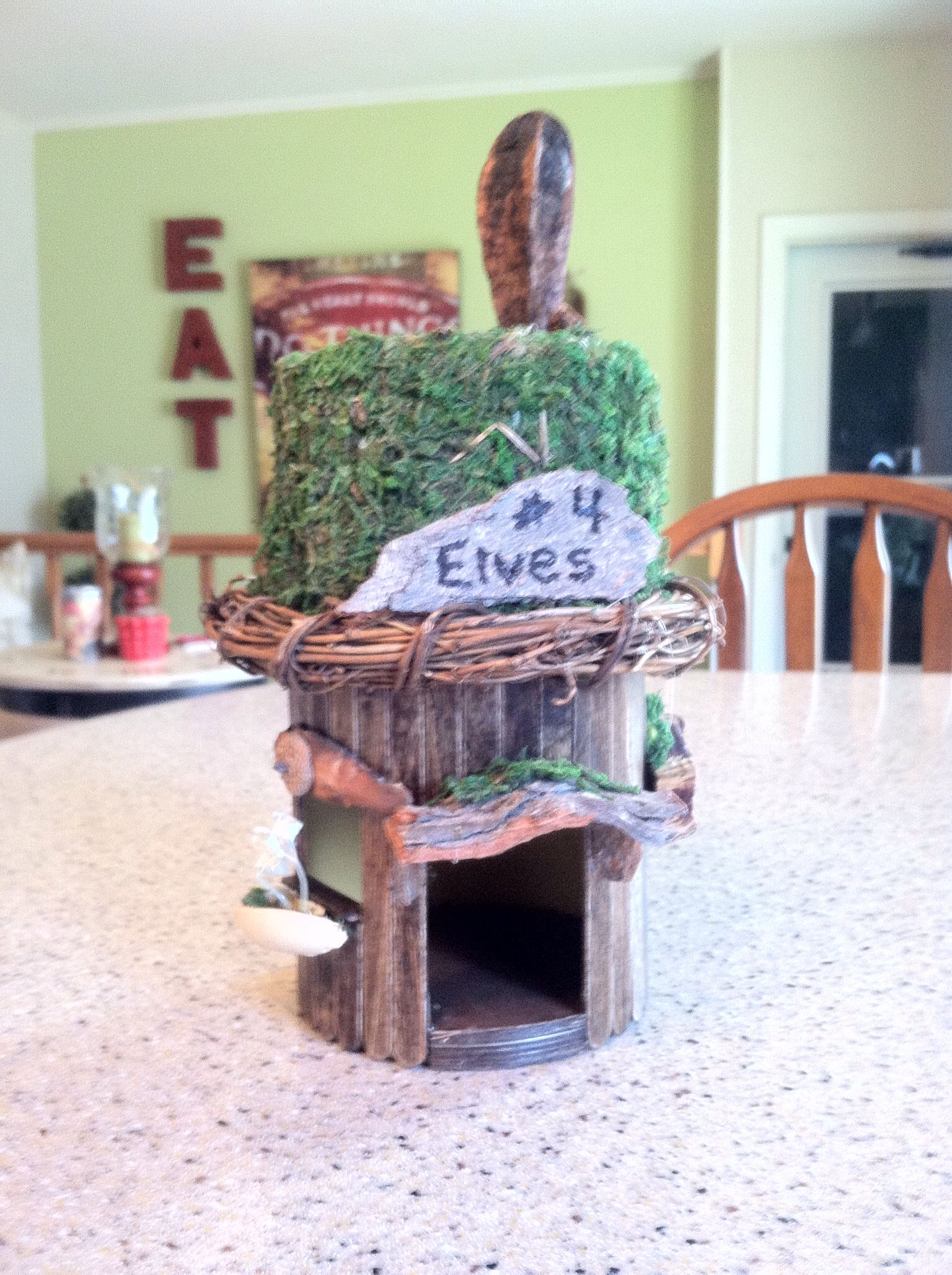 This Elves House Was Made From Part Of A Oatmeal Box And