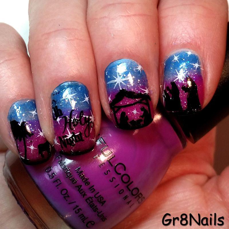 Nativity/Christmas nail art   NAIL ART   Pinterest   Finger nail art ...