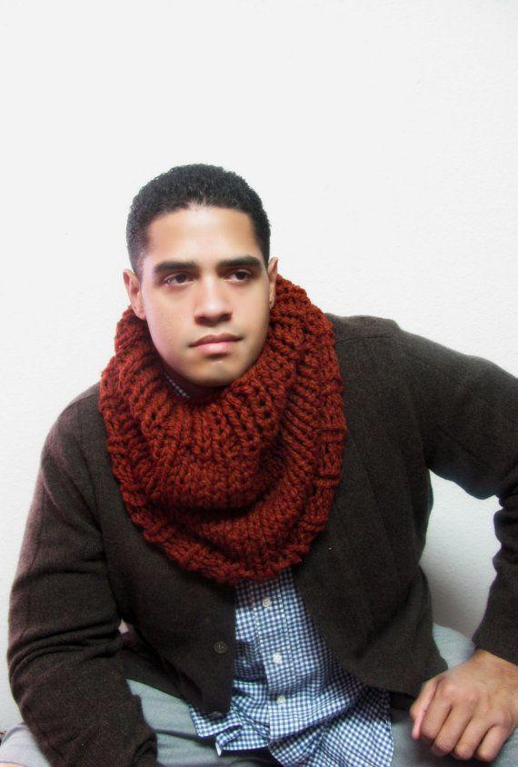 scarf mens brown men pin s herringbone plaid oversize infinity