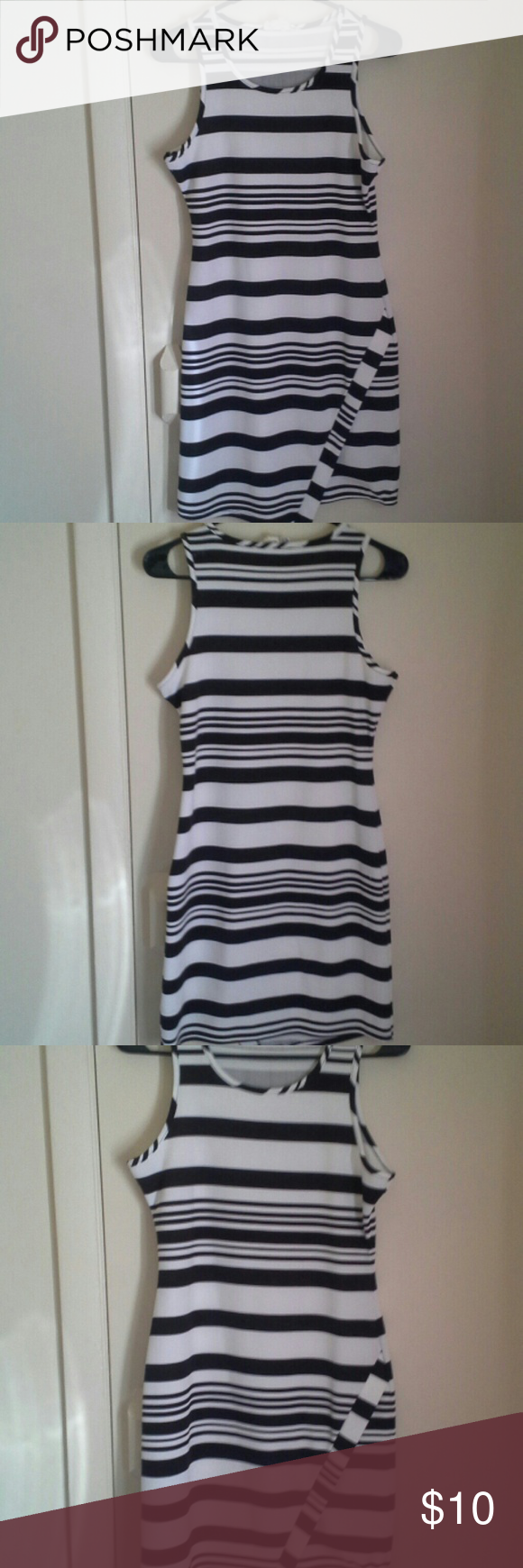 Dress white with black stripes.  Medium. Super cute white dress with black stripes. Perfect for summer. Has been worn, but great condition. Size medium. pink Republic Dresses Mini