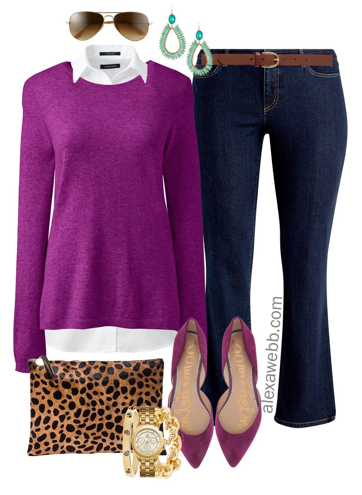 21241b5b94 Plus Size Bright Sweater Outfit Ideas - Plus Size Purple Sweater Outfit -  Plus Size Fall and Winter Outfits - Plus Size Fashion for Women -  alexawebb.com ...