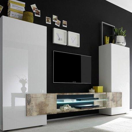 Ensemble Tv Design Blanc Laque Et Couleur Bois Clair Maril 2 Tvs