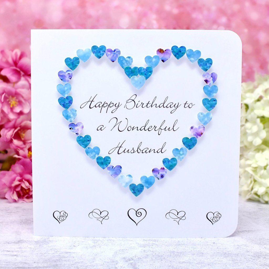 wonderful husband birthday card  hearts  husband