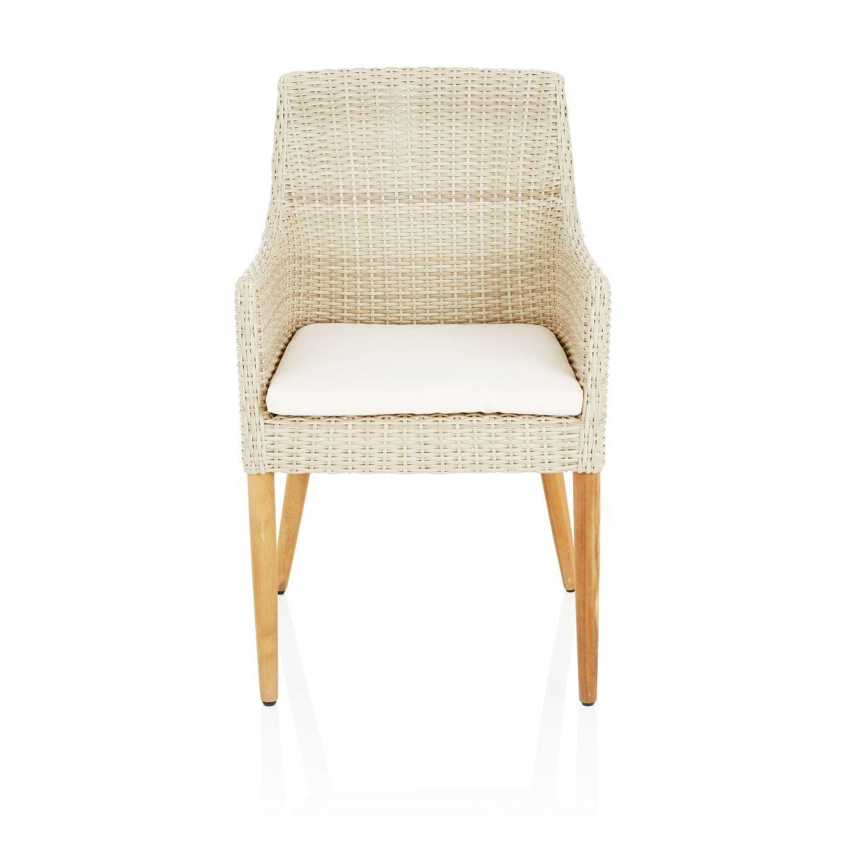 Outdoor-Armlehnstuhl, mit Sitzkissen, modern, Kunststoffrattan ...