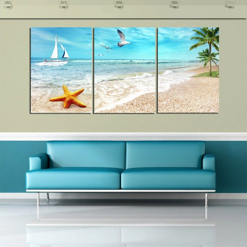 3 Piece Rectangle Modern Paintings Home Decor Beautiful Seascape Beach Canvas Prints On The Wall Paintin Beach Canvas Wall Art Beach Wall Art Canvas Photo Wall