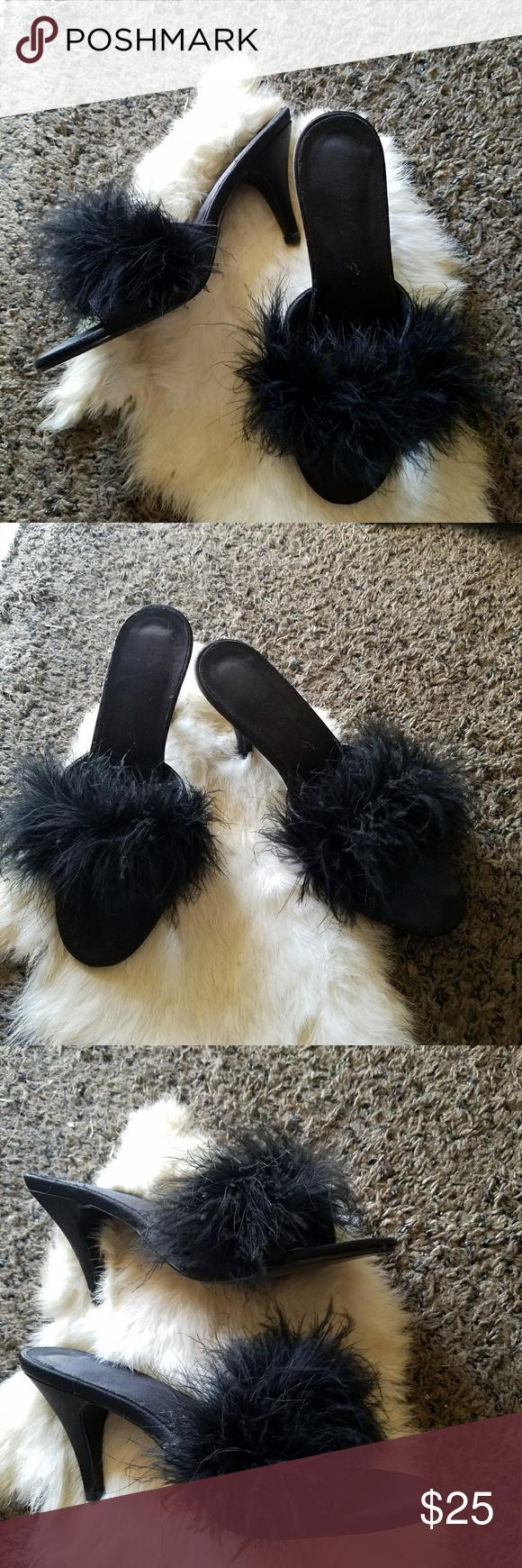Fuzzy Kitten Heel Slides Kitten Heels Heels Night Dress