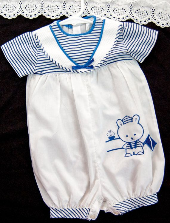 b1767d1d2 Baby Boys Vintage Nautical Romper Bubble Size 12 months White Blue ...