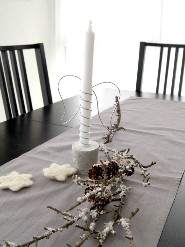 Moderne Kerzenständer advent mit draht und beton