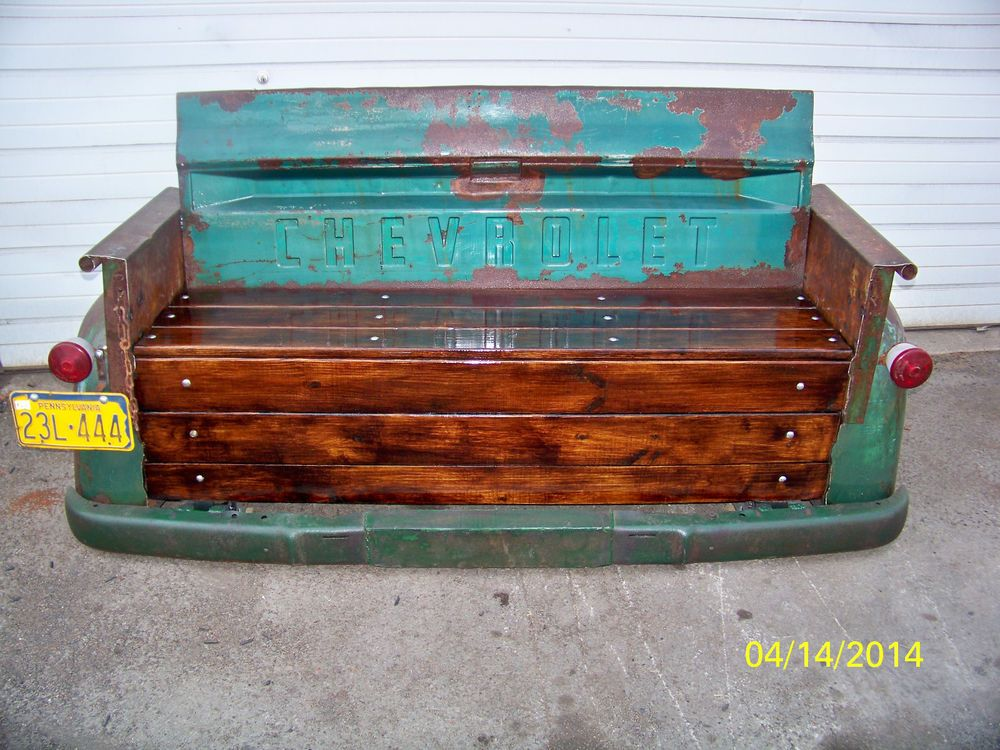 custom vintage chevy tailgate bench made by my husband crafts i created pinterest. Black Bedroom Furniture Sets. Home Design Ideas