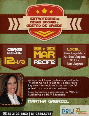 Curso Estratégias de Mídias Sociais e Gestão de Crises com Martha Gabriel em Recife