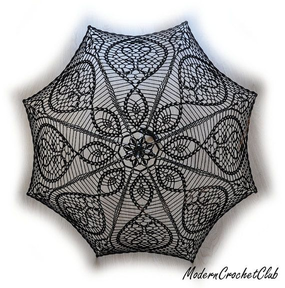 Black Crochet Umbrella Victorian Lace Parasol Goth Lady Or Young