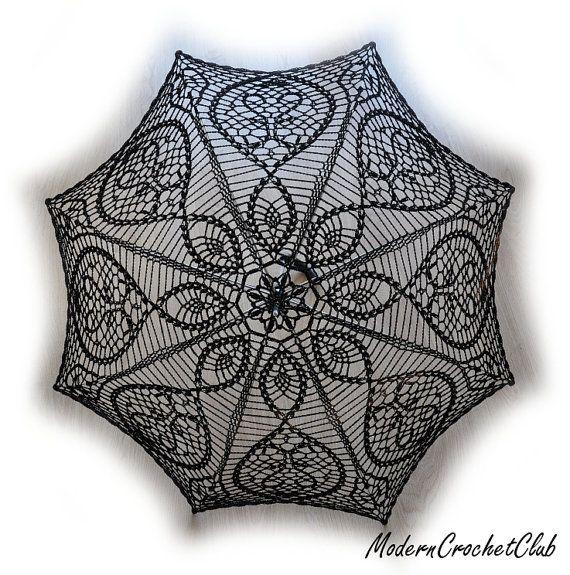 BLACK Crochet Umbrella- Halloween Costume- Victorian Parasol- Goth ...