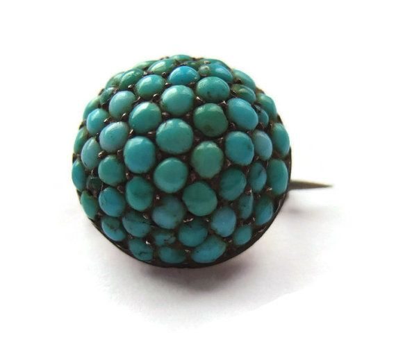 SOLD. RESERVED FOR A. Tiny vintage Persian turquoise domed brooch, c clasp, late Victorian or early Edwardian, https://www.etsy.com/transaction/1009496500