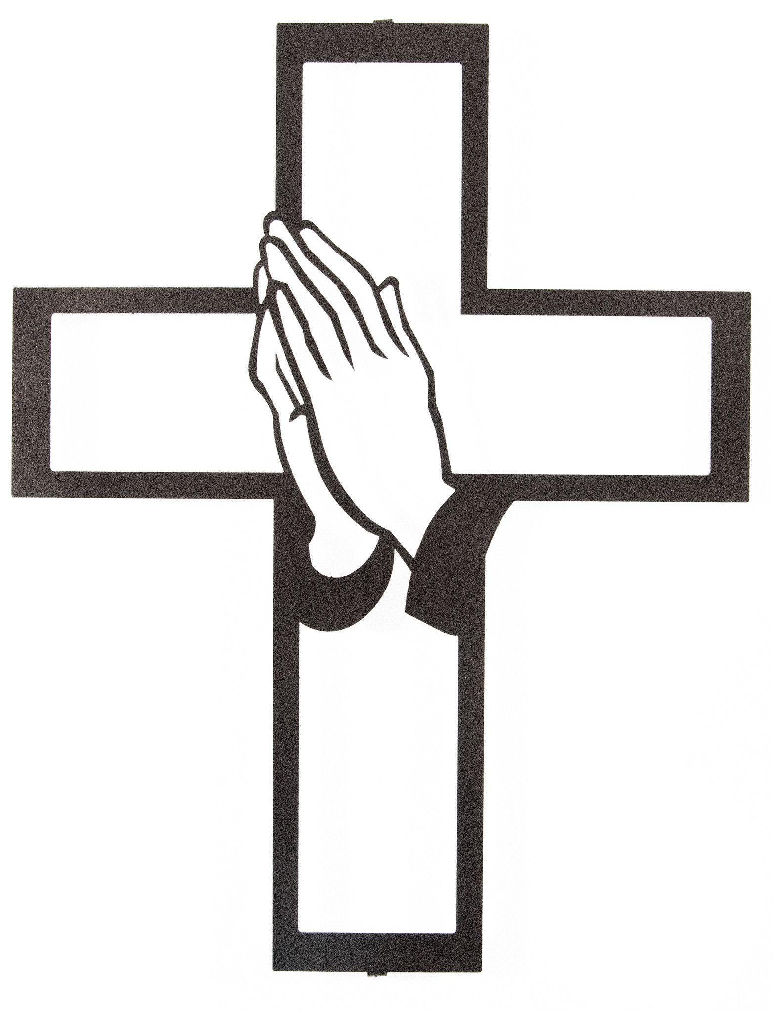 Praying hands and cross laser cut metal wall art espresso yourself